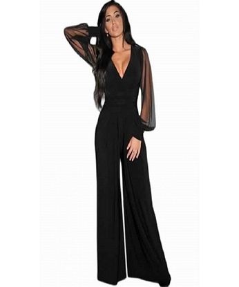 Picture of Stylish Black V-neck jumpsuits