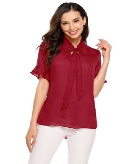 Picture of Red tie collar blouse