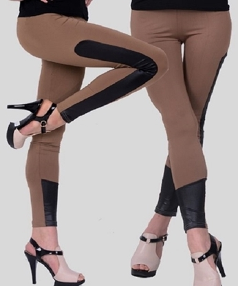 Picture of Contrast Faux Leather Elastic Waist Leggings