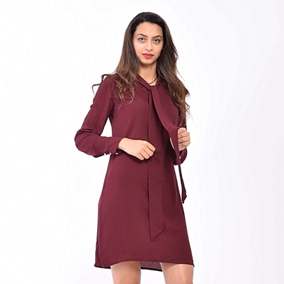 Picture of Robe chemise - Rouge bordeau